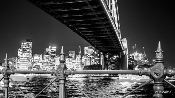 Monochrome Bridge and City.
